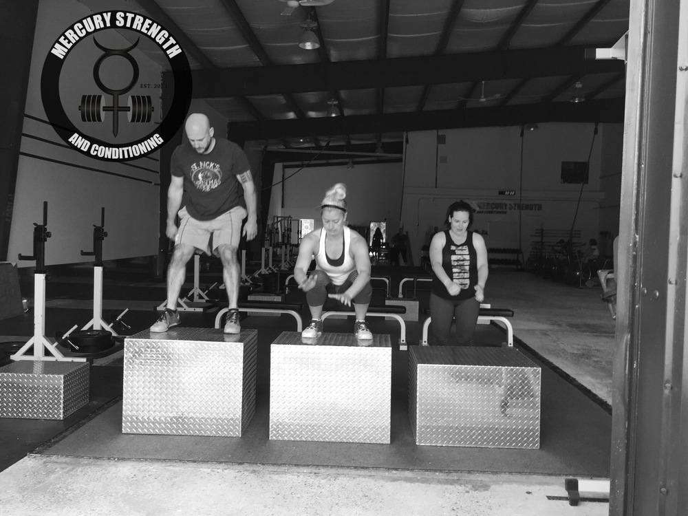 Sean, Kelsi, and Lindsey with some box jumps.