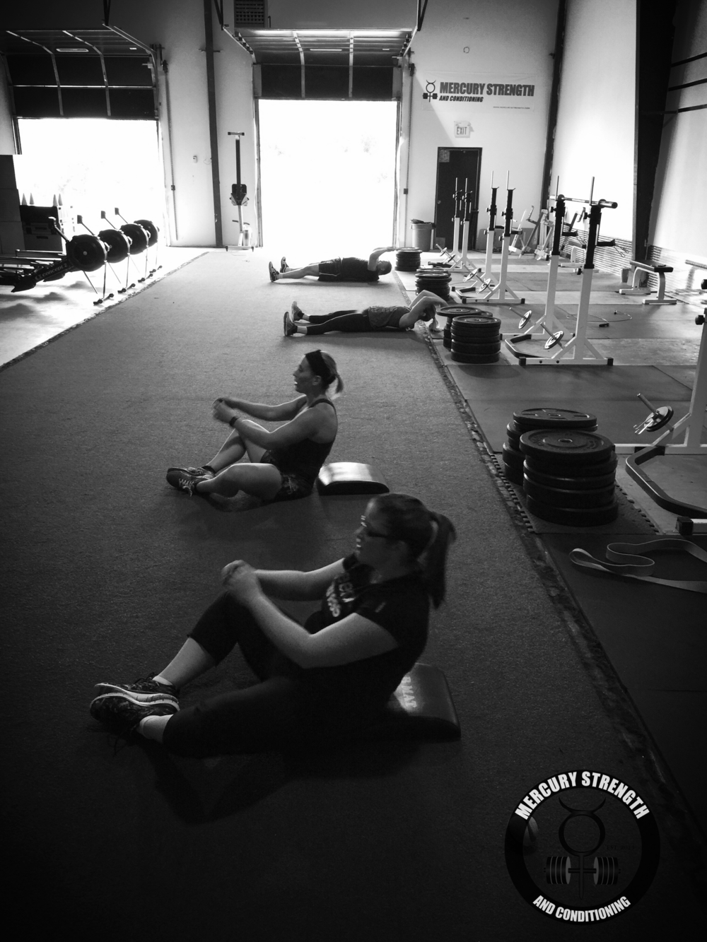 Hannah, Jess, Kelly, and Craig with some sit-ups at 12:30