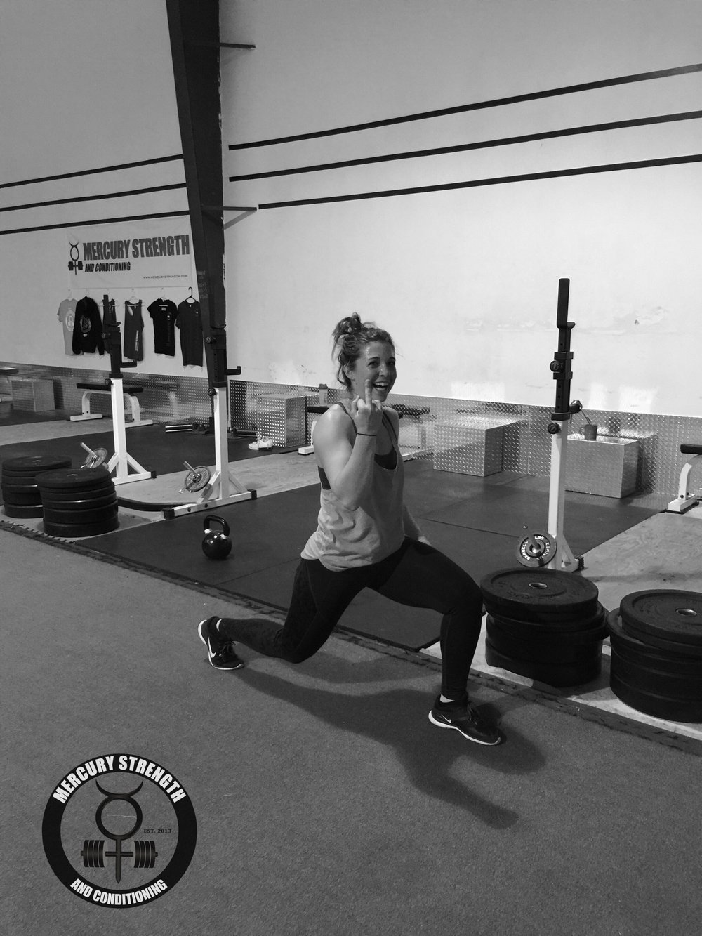 Michele expressing her gratitude for being able to do lunges.