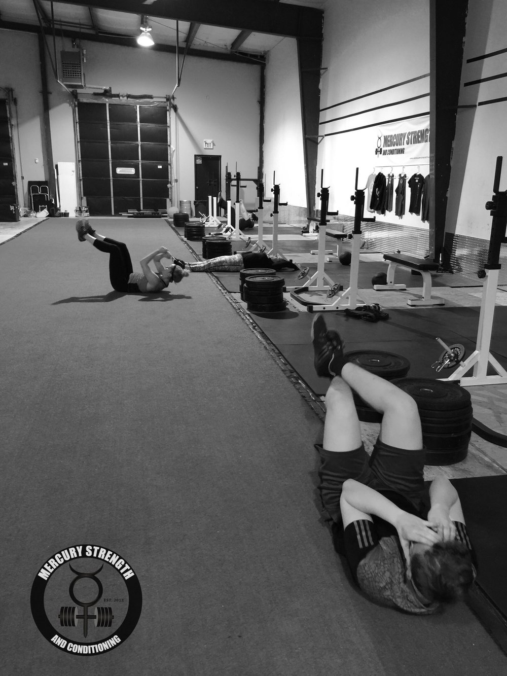 Laurin, Kelsi, Val, and Leanne suffering through a tough ab workout last night.
