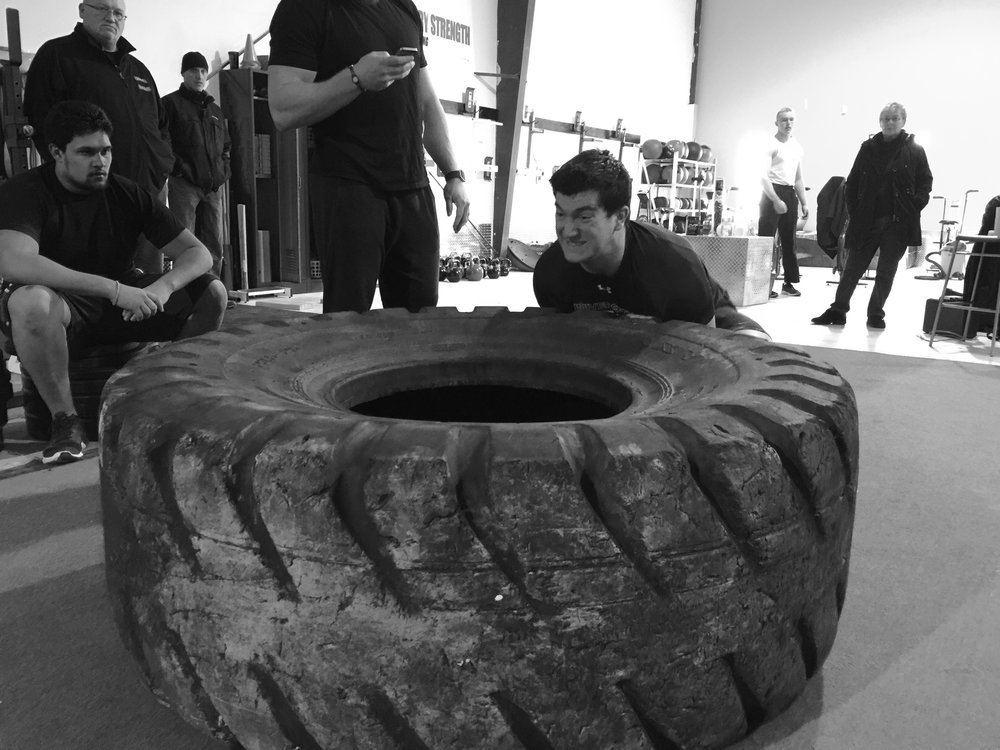 Sam with some tire flips during Kingston`s Strongest Teen this past weekend