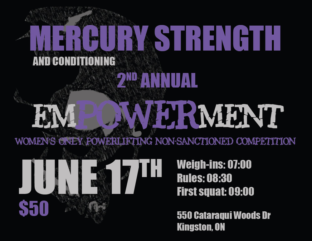 Just a reminder that our Second emPOWERment Women's Only Powerlifting Meet is coming up on June 17th! Click on the photo to sign up!