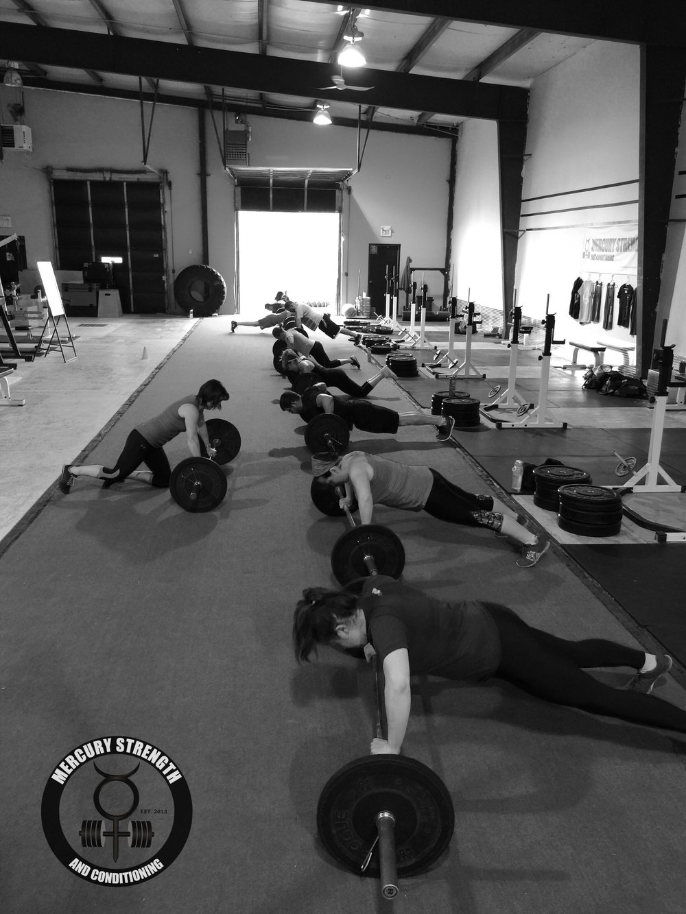 A busy 09:30 Victoria Day class getting in some bench followed by a tough conditioning workout