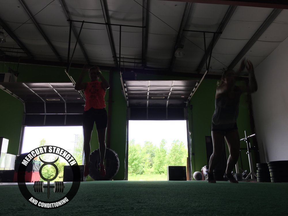 Janet and Addie being explosive during the burpee broad jumps yesterday