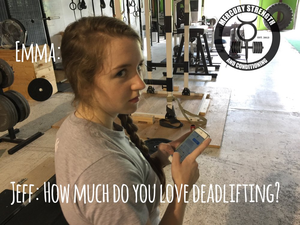 Gym-powerlifting-fitness-training-bootcamp-crossfit-kingston-kids-mercury-strength-conditioning-athlete-Emma-impressed-deadlift