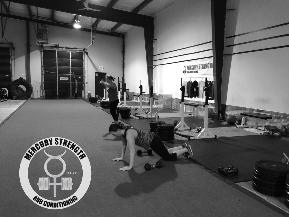 Katherine and Tara getting some burpees in