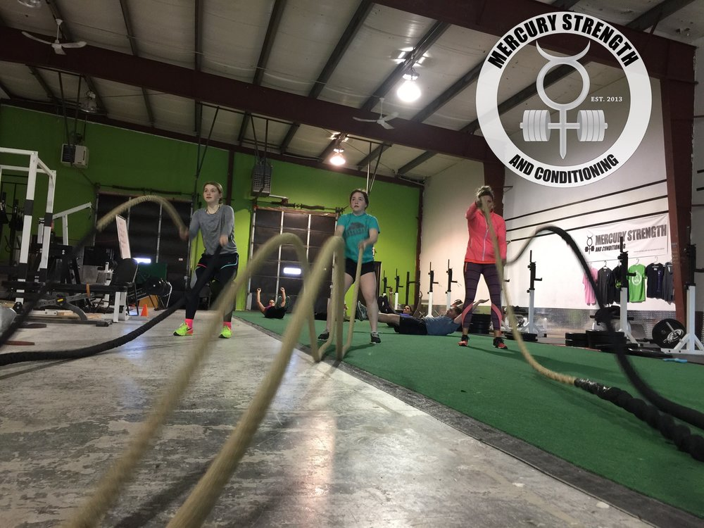 Mackenzi, Gracie, and Janet with some Tabata battle ropes