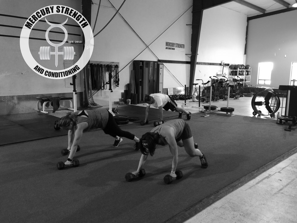 Shawna, Tara, and Andrew with some DB plank walks which ended up turning into bear crawls. LOL
