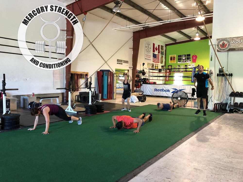 Lindsey, Michael, Katie, Colby, and Andrew smashing out some burpees