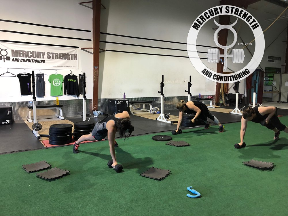 Shawna, Tara, and Katherine with some early morning renegade rows.