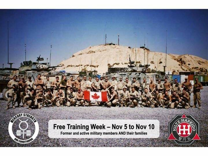In honour of our former and active military members, we would like to extend our appreciation to them, and their families, by offering a FREE week of training! November 5th until the 10th!!!  Contact us !