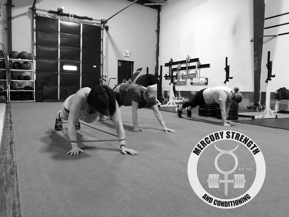 Shawna, LeeAnn and Tara with some banded plank walks