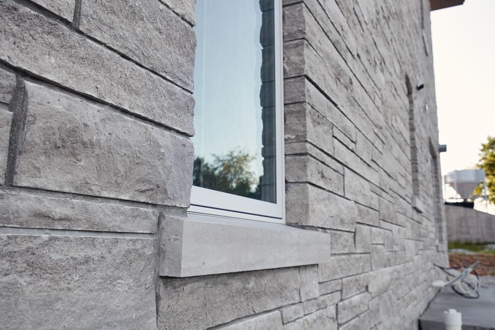 Window Sill with Split Face Veneer