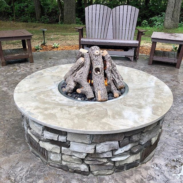 "One of our recent completed projects - 65"" Fleuri top for a fire feature. . . . #phenixmarble #napoleongray #minedintheozarks #firepit #usenaturalstone"