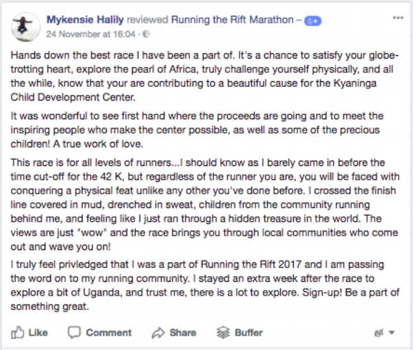 Running the Rift Marathon, Uganda, Reviews