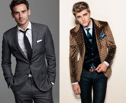 Left: Nice suit, nice fit...but meh. Right: Who is that guy?