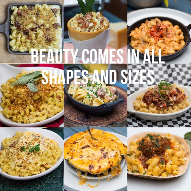 Beauty comes in all shapes and sizes. Tap if you agree! Lets makes this the most liked pic in our feed. Inspired by the @huffpostwomen. --------- A selection of dishes served  @macandcheesefest
