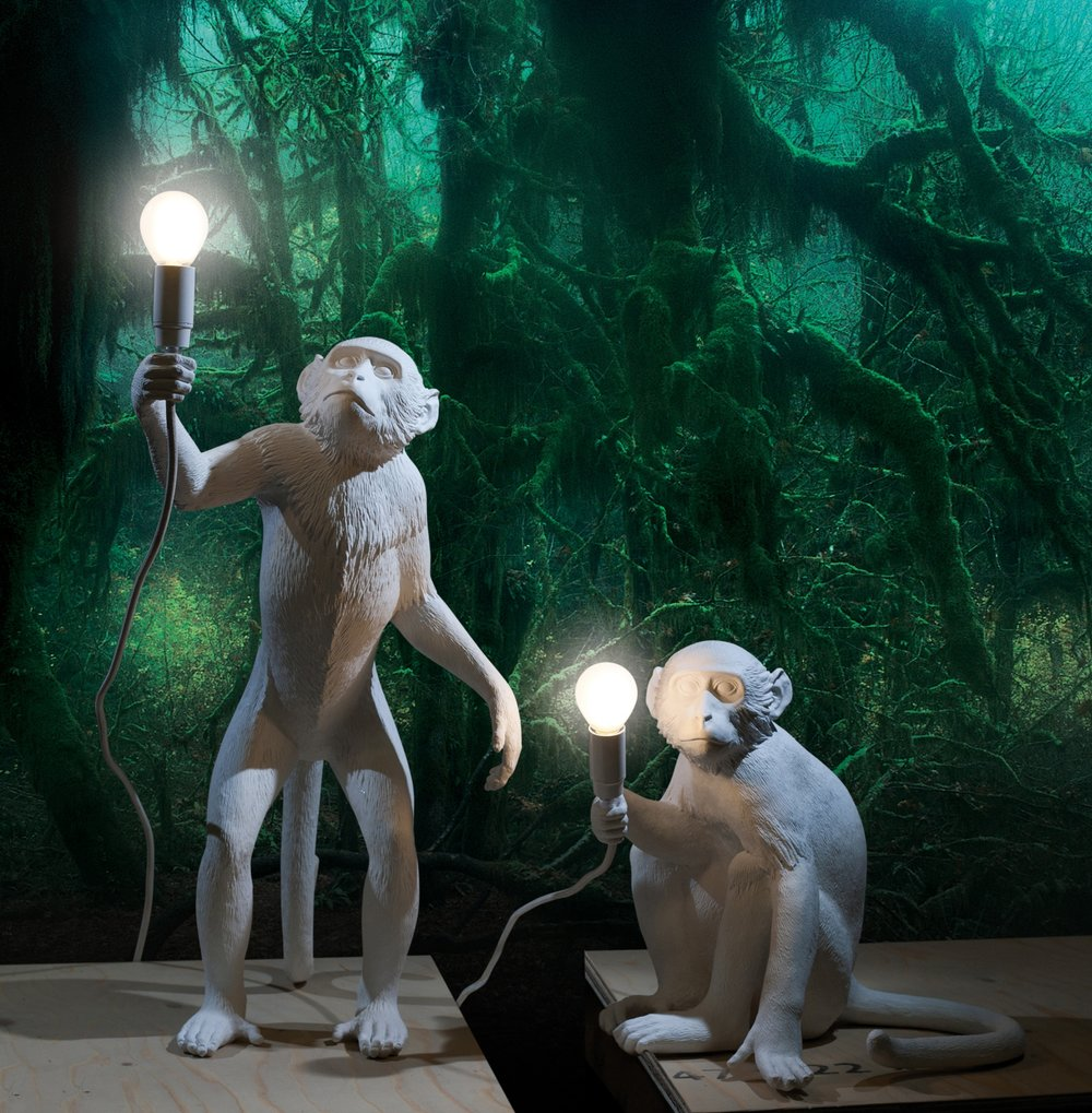 STANDING AND SITTING MONKEY LAMP