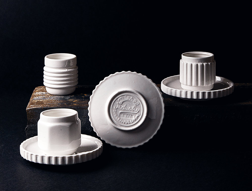 The edgy trio of Machine collection espresso cups and saucers by Diesel for Seletti