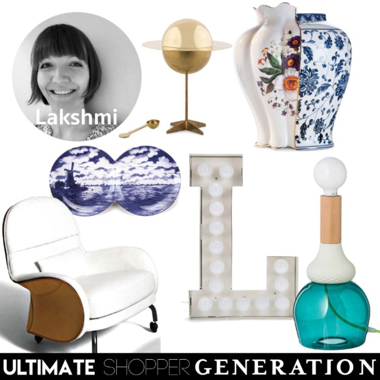 Lakshmi chose a fanciful mix of pieces starting with the Spun brass sugar bowl from the Diesel Cosmic Diner collection for Seletti, the Melania vase from the Hybrid collection from Seletti, a stunning splash of colour with the MRND Maria Teresa lamp as well as the Vegas 'L' both from Seletti, An Iconic Albareta armchair from Depadova and a hint of Holland with the Multidish platter from Seletti