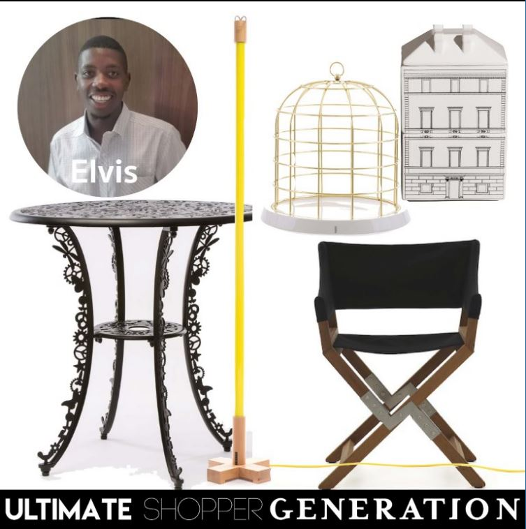 Elvis chose a collection of contemporary pieces; the Twitable cage from Seletti along with the architectural storage jars from the Palazzo dinner service by Seletti, a versatile black Sundance directors indor/outdoor chair from De Padova, the Linea fluorescent lamp from Seletti in a fresh lemon yellow and added a pop of pattern with the Small outdoor table from the Industry Collection by Studio Job for Seletti.
