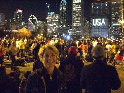 Sandra Mars in Grant Park with Chicago skyline.