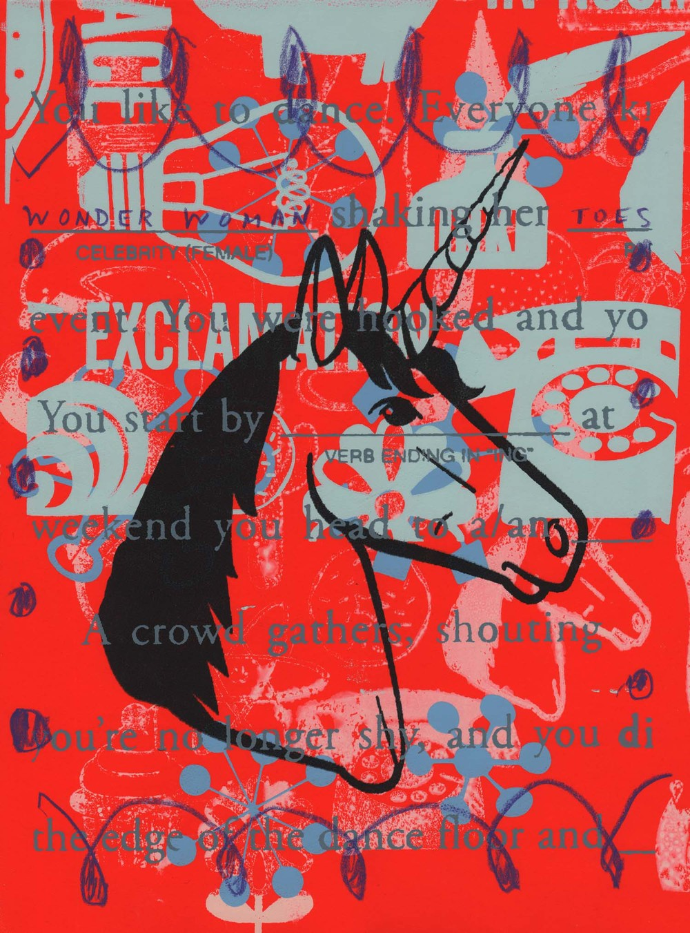 Mad Libs- Unicorn ,  Peter Mars, American Pop Art, 15x20""