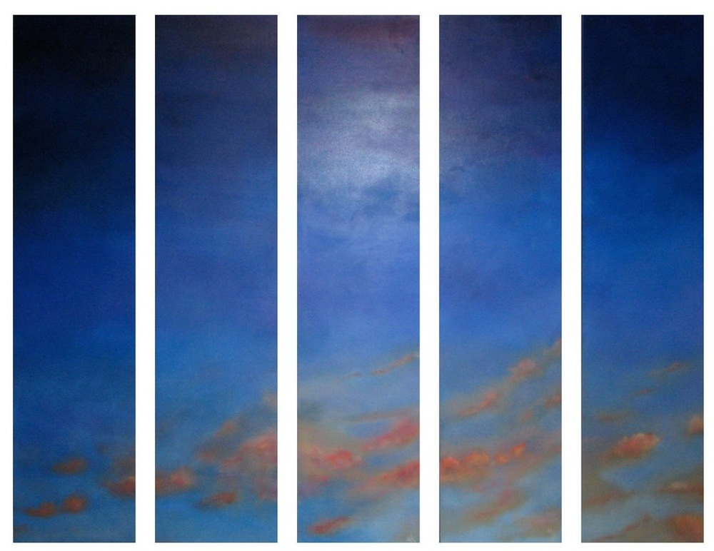 """The Secret Sky"" • oil on canvas • 5 piece suite, each piece is 48 x 12 inches (122 x 30.5 cm)"