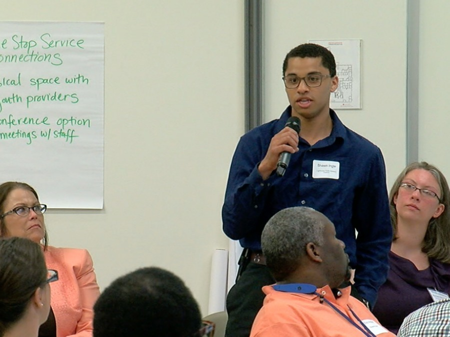 "Shawn Ingle knows what it's like to be homeless as a teenager.  That's why he has been working with two local nonprofit organizations to try to eliminate youth homelessness in Cincinnati and Hamilton County.   http://www.wcpo.com/news/insider/how-local-groups-plan-to-end-youth-homelessness-by-2020-with-help-from-youth-who-have-lived-it    ""I really don't want any other homeless youth to be in my shoes,""  Ingle said. ""To be sleeping under a bridge or begging for food.""  For the past six months, Ingle and scores of other young adults, social workers and advocates have been coming up with new ideas to end youth homelessness here. Strategies to End Homelessness and Lighthouse Youth and Family Services are leading the work.  The U.S. Department of Housing and Urban Development selected Cincinnati and Hamilton County as one of 10 communities for its Youth Homelessness Demonstration Program. The goal is for the communities to come up with  new and innovative ways to use federal money to eliminate youth homelessness.   Shawn Ingle speaks during a community meeting in May. Photo by Terry Helmer 