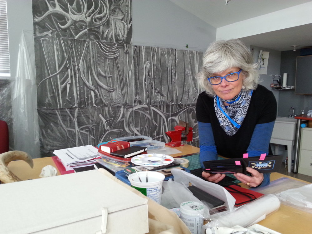 Barbara Lounder in her home studio, May, 2015