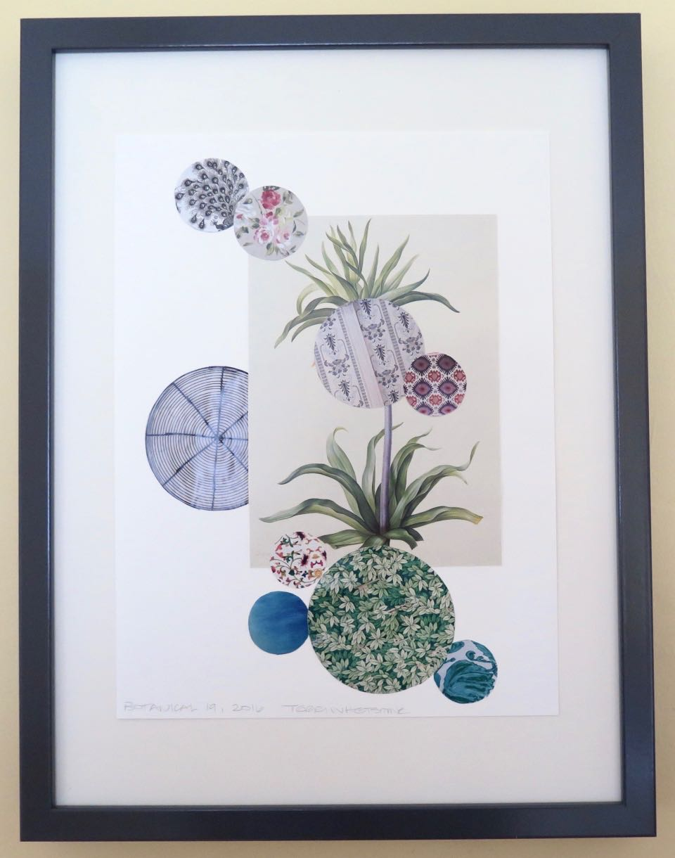 "Botanical 19, 2016, hand cut paper, vintage bo-tanical print, glue, on paper, 12"" x 9"", framed: 17"" x 13"", 250 CAD"