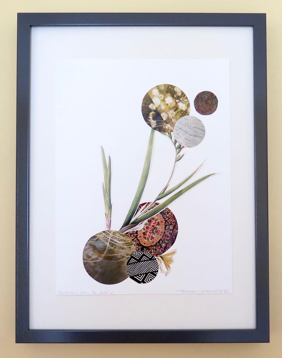 "Botanical 3, 2016, hand cut paper, vintage botan-ical print, glue, on paper, 12"" x 9"", framed: 17 x 13 inches, 250 CAD"