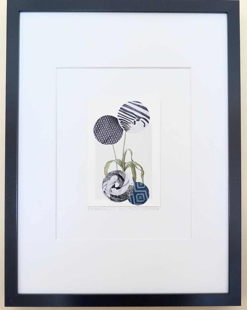 "Botanical 12, 2016, hand cut paper, vintage botanical print, glue, on paper, 6"" x 4"", framed: 17"" x 13"", 200 CAD"