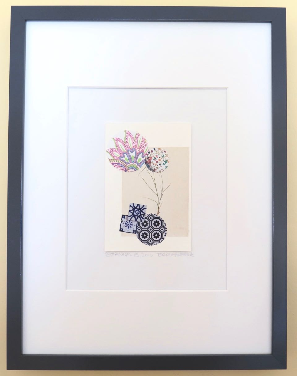 "Botanical 15, 2016, hand cut paper, vintage botanical print, glue, on paper, 6"" x 4"", framed: 17"" x 13"", 200 CAD"
