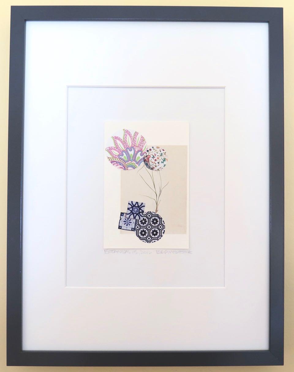 """Botanical 15, 2016, hand cut paper, vintage botanical print, glue, on paper, 6"""" x 4"""", framed: 17"""" x 13"""", 200 CAD"""