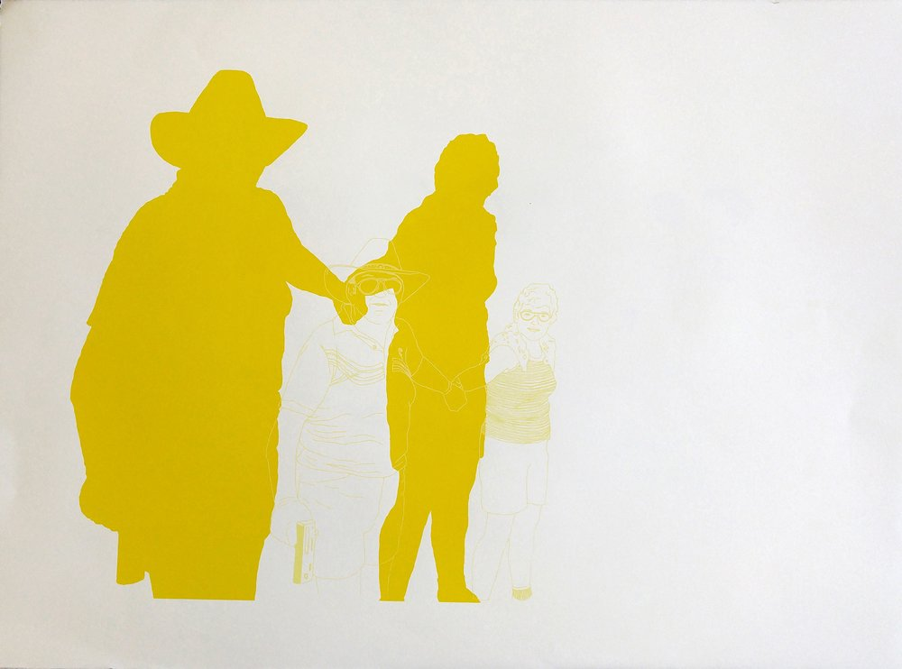 "Hands Across America Self Portrait, 2015, silkscreen, 22""X30"", 80 CAD"