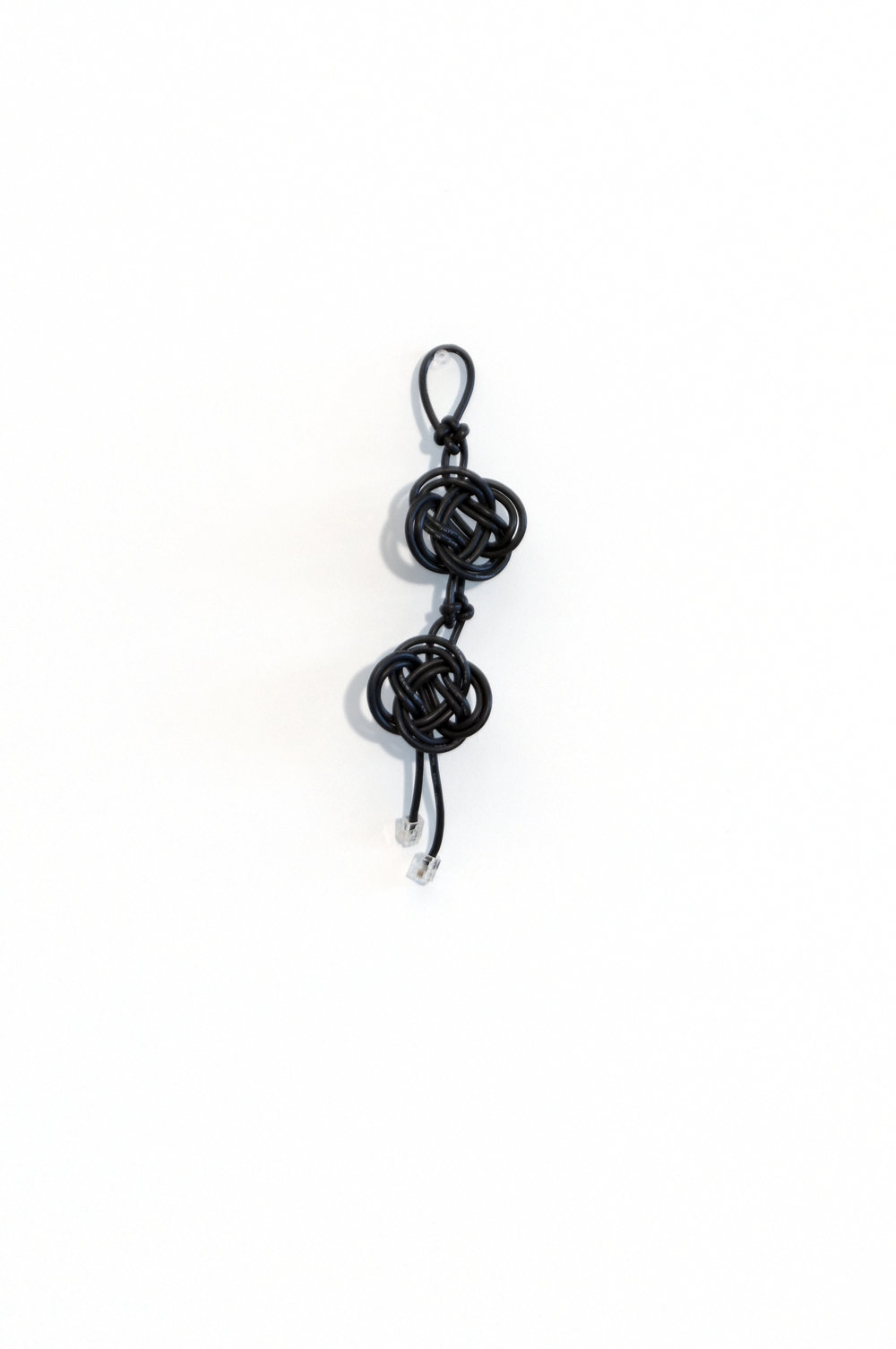 "cable knot (02487) Cross/flat button knots, 2014, 10""x 2 1/2"", 150 CAD"