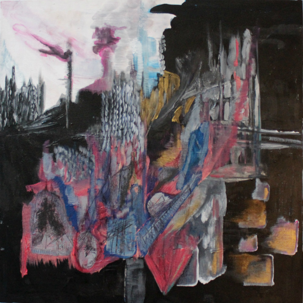 Site II, 2015, 60cm x 120cm, Acrylic, Marker, Charcoal on wood panel, 300 CAD
