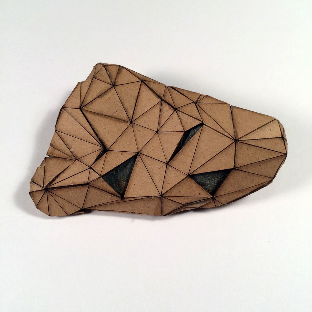 (Back view) 006 - Boxes For Rocks, laser cut cardboard, found rocks, glue, 12cm x 8.5cm x 3cm (flatish), 2012, 250 CAD