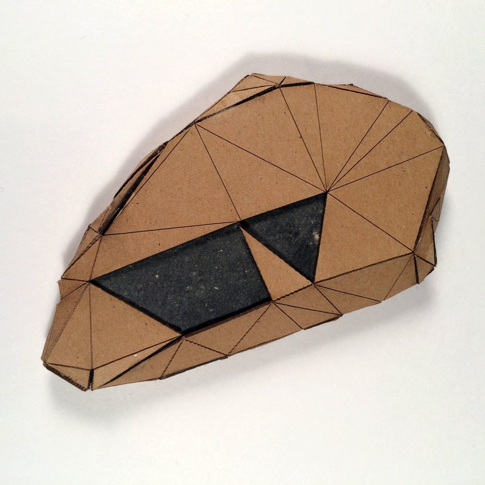 (Back view) 011 - Boxes For Rocks, 2012, laser cut cardboard, found rocks, glue, 13.5cm x 8.5cm x 1.5cm (flat), 250 CAD