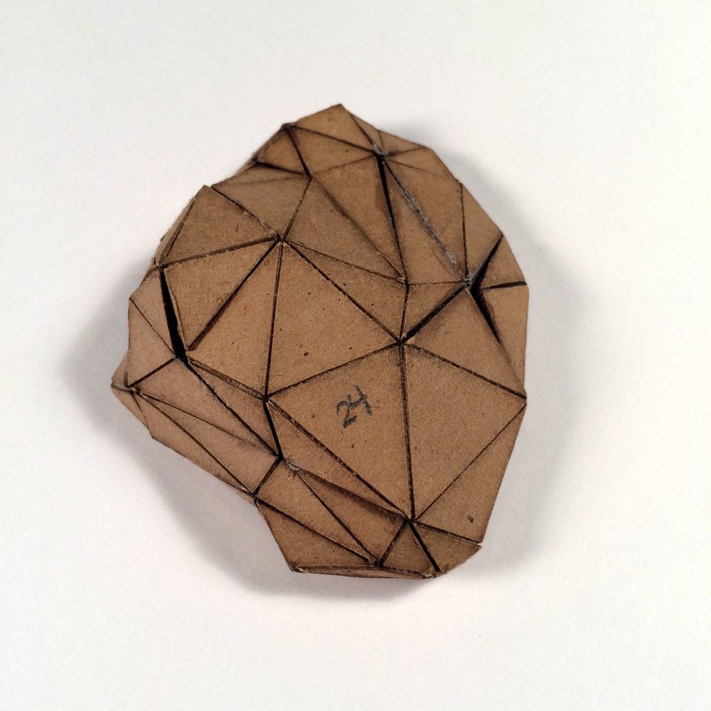 (Front view) 024 - Boxes For Rocks, 2012, laser cut cardboard, found rocks, glue, 9cm x 7cm x 3cm (flat bottom), 250 CAD