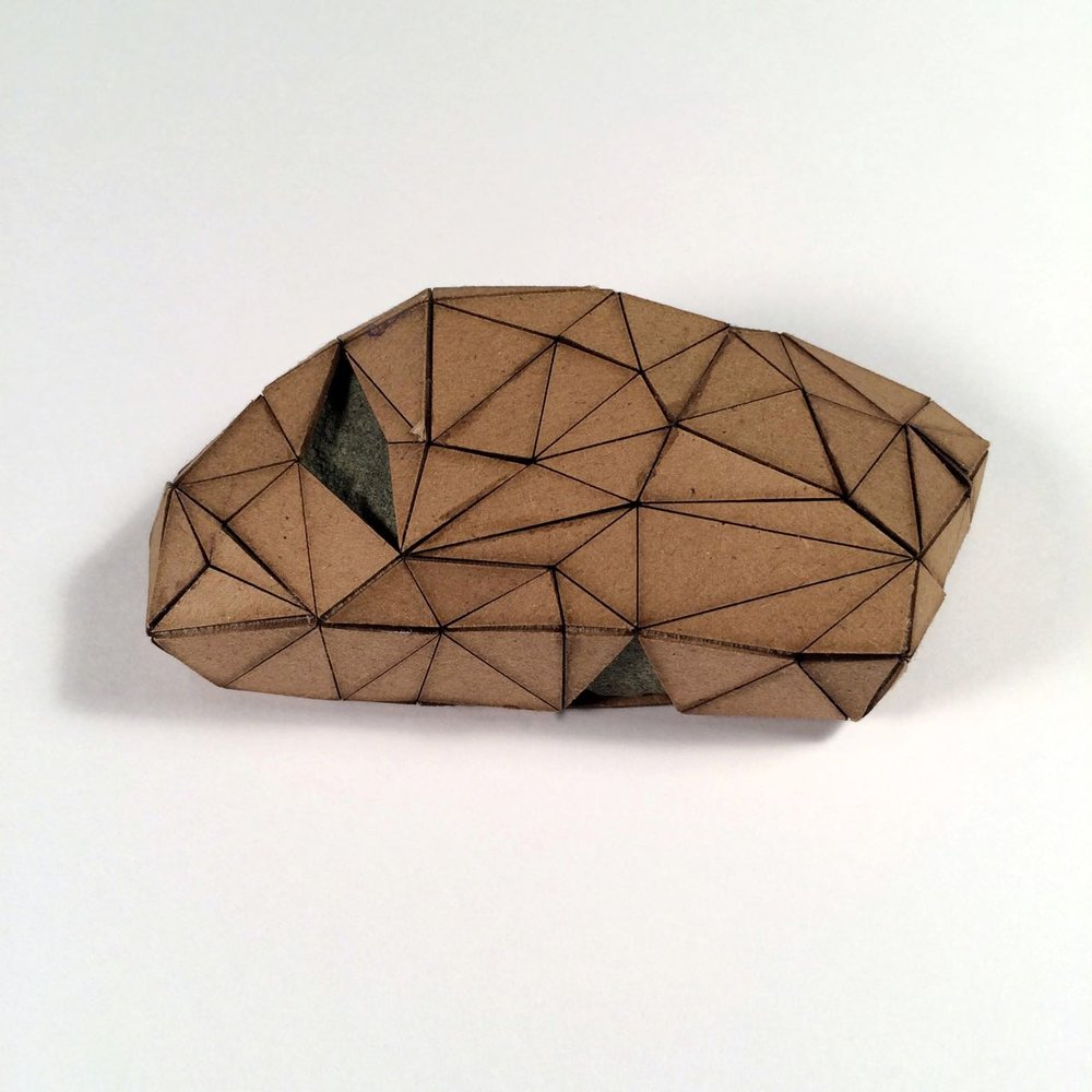 (Front view) 041 - Boxes For Rocks, 2012, laser cut cardboard, found rocks, glue, 5cm x 4.5cm x 3cm (squarish), 250 CAD