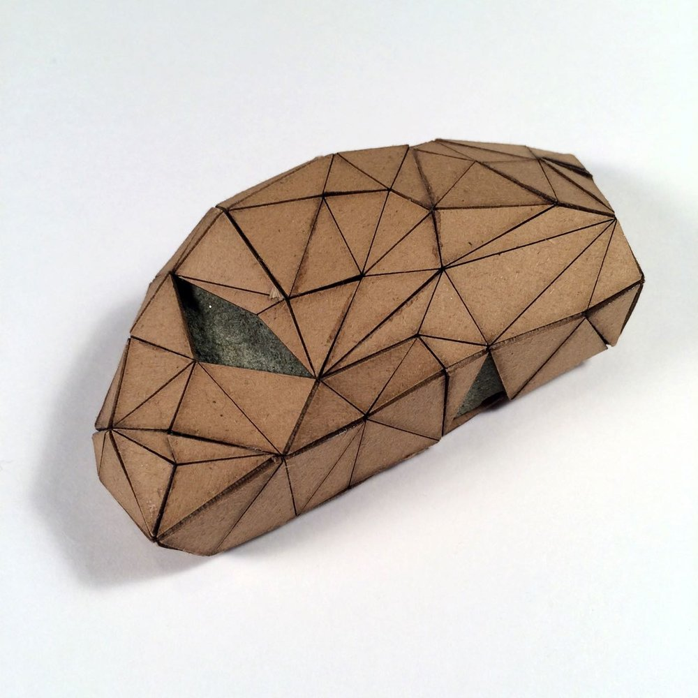 (Back view) 041 - Boxes For Rocks, 2012, laser cut cardboard, found rocks, glue, 5cm x 4.5cm x 3cm (squarish), 250 CAD