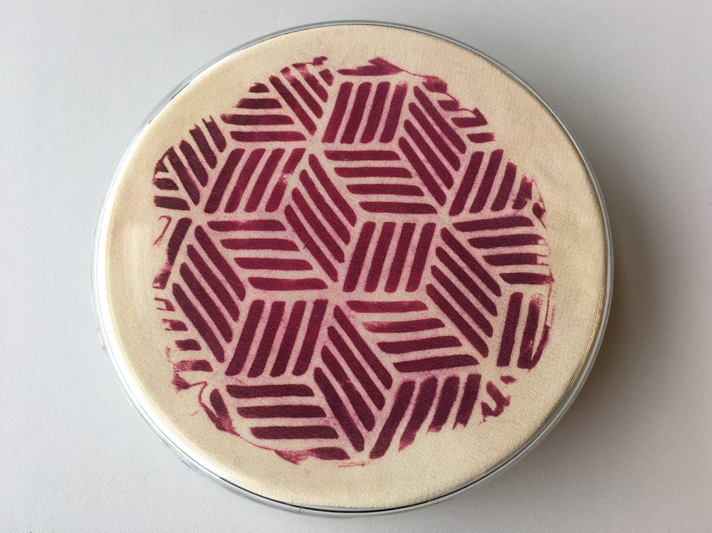 Bacterial Petri Print (untitled), 2017, Bacterial print on silk, glass petri dish, 10cm x 10cm x 4cm, 1 available, 200 CAD