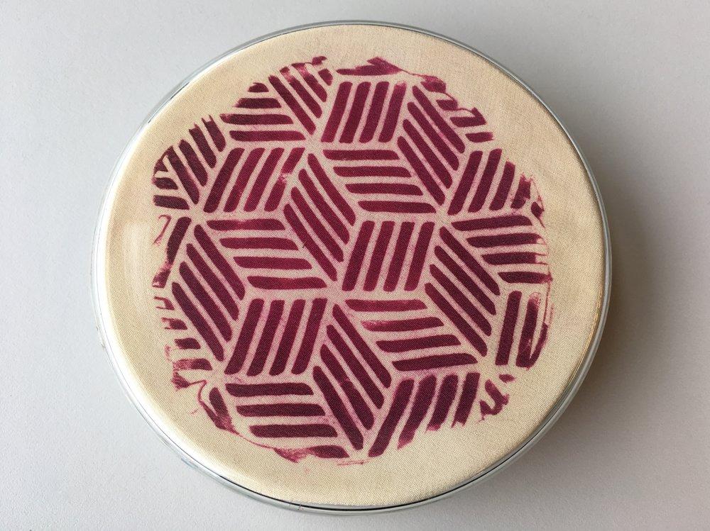 Bacterial Petri Print (untitled), 2017, Bacterial print on silk, glass petri dish, 10cm x 10cm x 4cm, 1 available, 200 CAD
