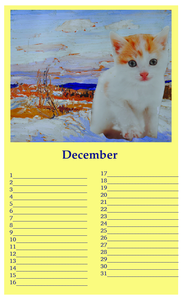 "One edition SOLD - (sample page: December) Kittylovescapes Perpetual Calendar, Print-on-Demand, 8.5"" x 14"", edition of 10, 40 CAD per calendar"