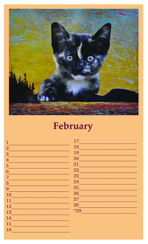 "One edition SOLD - (sample page: February) Kittylovescapes Perpetual Calendar, Print-on-Demand, 8.5"" x 14"", edition of 10, 40 CAD per calendar"