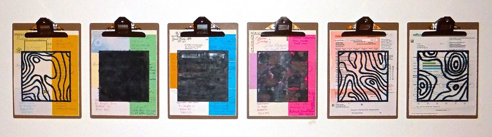 "Home Front #2, 2014 encaustic, mixed media collage on paper, mounted on 6 commercial clipboards, 13"" × 59"", set of clipboards depicted counts as one artwork, 450 CAD"