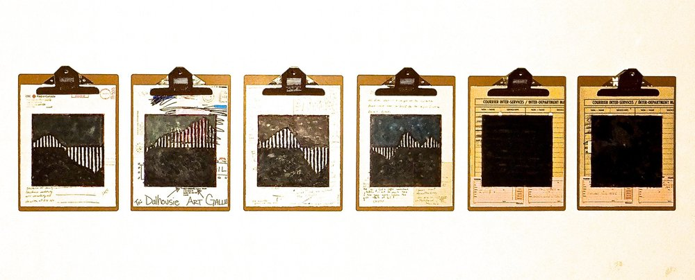 "Work Force #2, 2014 encaustic, mixed media collage on paper, mounted on 6 commercial clipboards, 13"" × 59"", set of clipboards depicted counts as one artwork, 450 CAD"