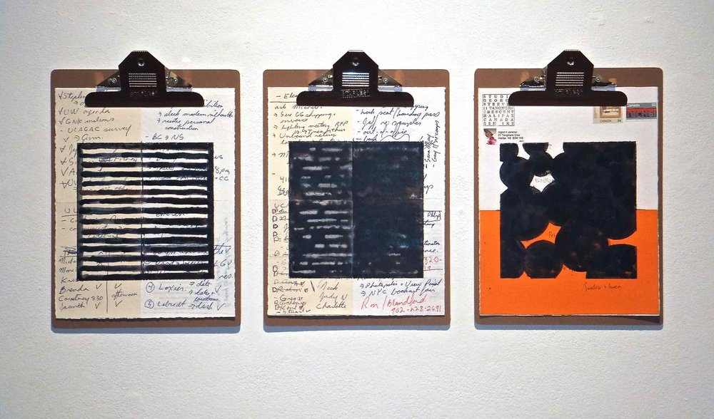 "Work Force #3, 2014, encaustic, mixed media collage on paper, mounted on 3 commercial clipboards, 13"" × 39"", set of clipboards depicted counts as one artwork, 225 CAD"